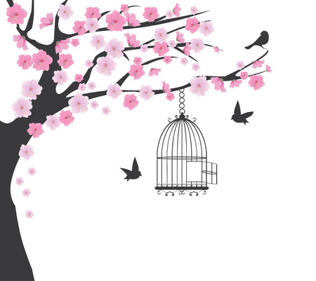 birds in tree: vector illustration of a cherry tree with bird cages and birds