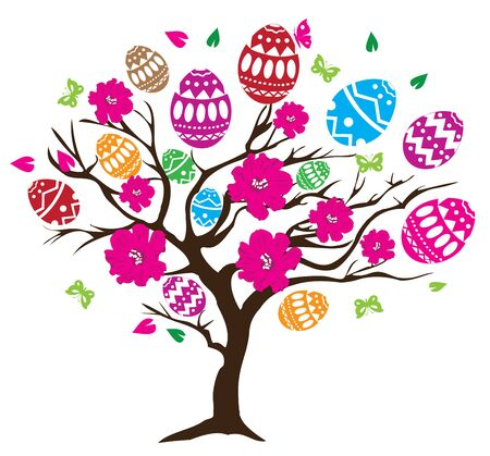 cartoon insect: vector illustration of Easter tree with eggs, birds Illustration