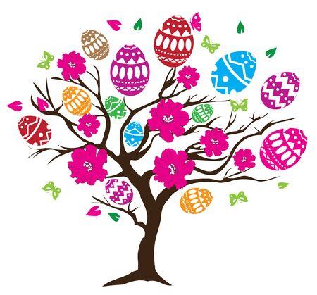 fantasy butterfly: vector illustration of Easter tree with eggs, birds Illustration