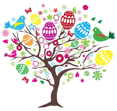 easter tree: vector illustration of Easter tree with eggs, birds Illustration