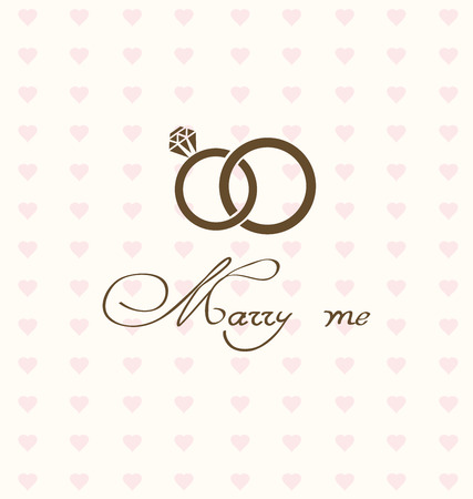 vector illustration of wedding card with rings