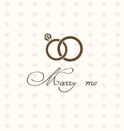 vector illustratie van de bruiloft kaart met ringen Vector Illustratie