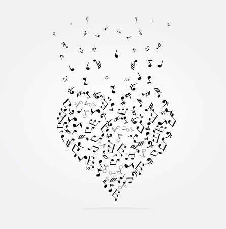 conceptual: vector illustration of musical heart with notes Illustration