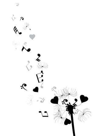 illustratie van een paardebloem met hoort en muzieknoten