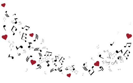 illustratie van muzieknoten met hartjes