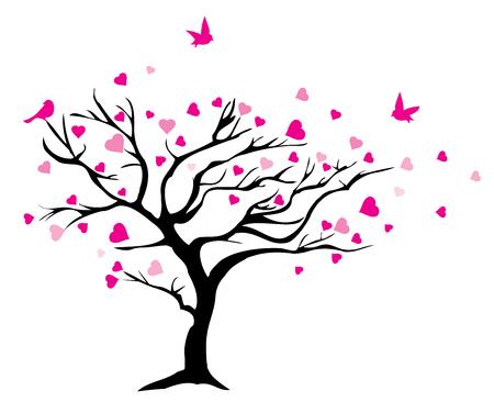 ilustración vectorial de un árbol con los corazones y los pájaros