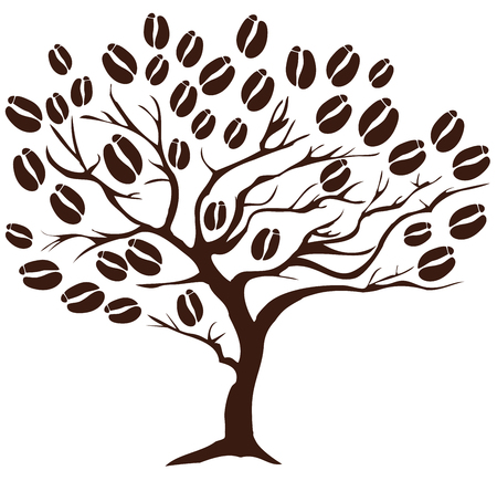 vector illustratie van een boom koffie met bonen