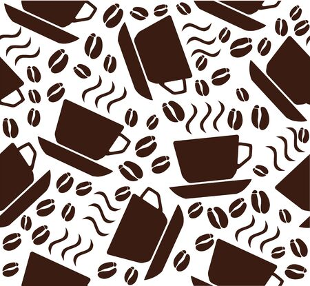 vector illustration of coffee background with cups and beans