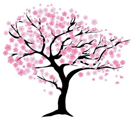 cerezos en flor: ilustración vectorial de un árbol de cerezo en flor