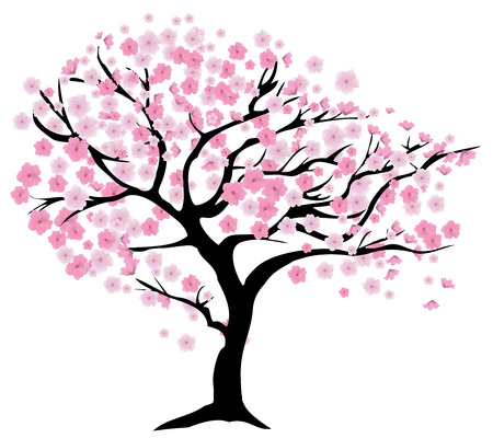 vector illustration of a cherry tree in blossom