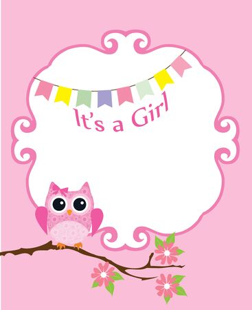 ilustración vectorial de una ducha de bebé o tarjeta de invitación con el búho