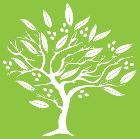Vector illustratie van een olijfboom silhouet