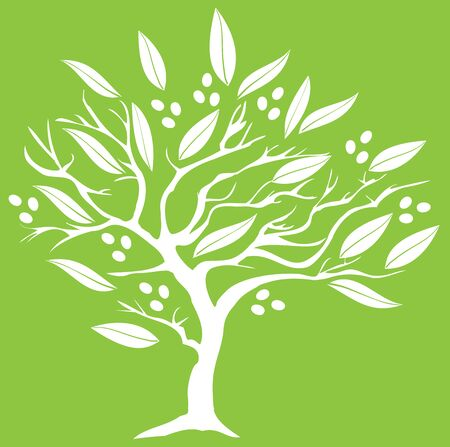 olive green: vector illustration of an olive tree silhouette