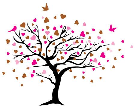 Ilustración vectorial de un árbol con los corazones y los pájaros Foto de archivo - 52396378
