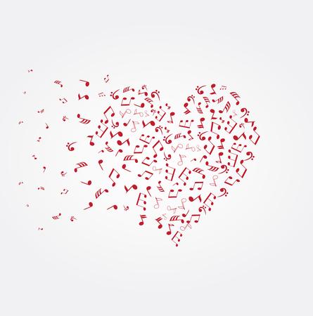 vector illustratie van een hart met muzieknoten