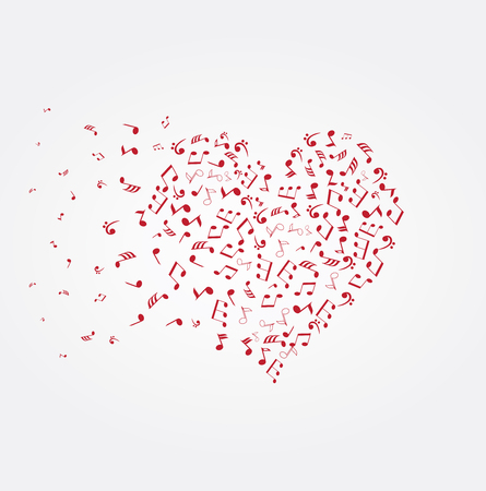 vector illustration of a heart with musical notes Vetores