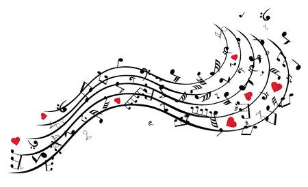 illustrazione vettoriale di note musicali con il cuore