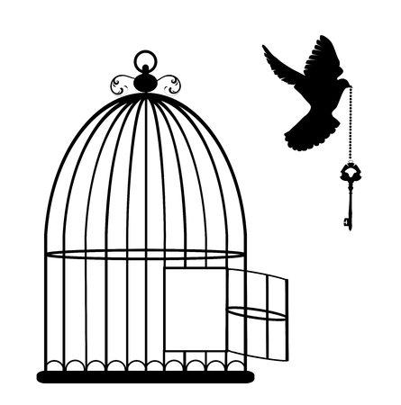black bird: vector illustration of a bird cage open with dove