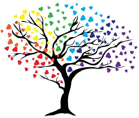 rainbow abstract: vector illustration of a rainbow tree with hearts