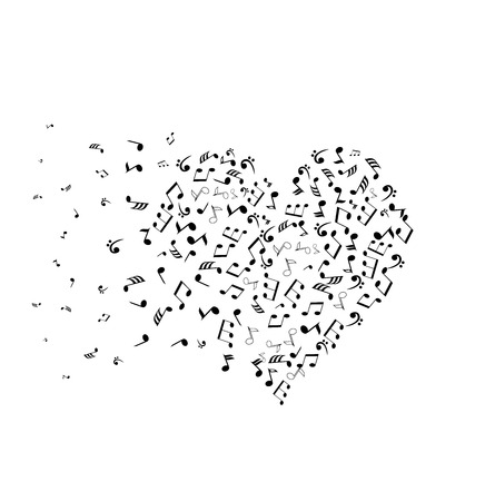 romance: vector illustration of a musical notes heart Illustration