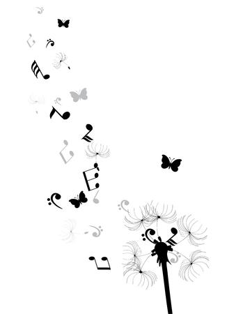 ilustración vectorial de un diente de león con las notas musicales y mariposas