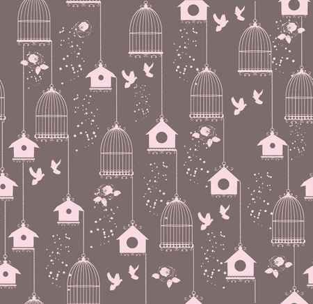 cute love: vector illustration of seamless background with bird cages and houses Illustration