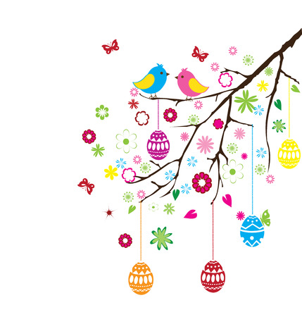vector illustration of Easter branch with eggs, birds and flowers
