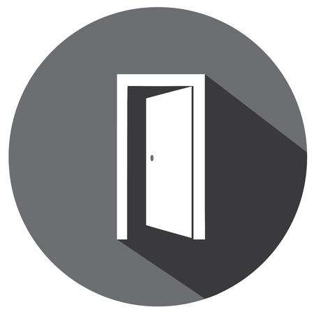 wooden doors: vector illustration of an open door flat icon Illustration