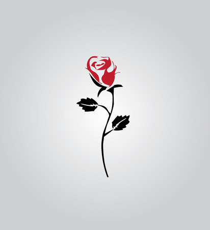 white roses: vector illustration of a rose silhouette icon Illustration