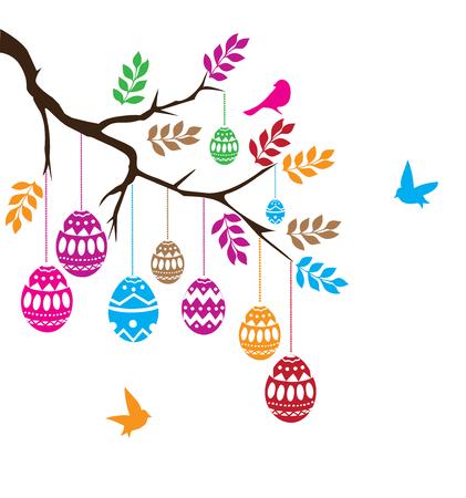 birds on branch: vector illustration of an Easter branch with eggs and birds Illustration