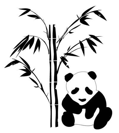bambou: illustration vectorielle d'un ours panda isolé sur fond blanc