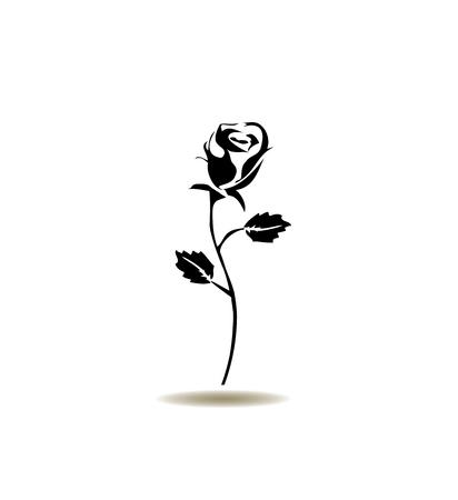 silhouette fleur: illustration vectorielle d'une icône rose silhouette
