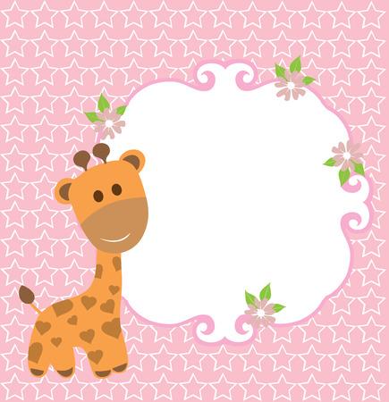 ilustración vectorial de una invitación de la jirafa del bebé o tarjeta de ducha