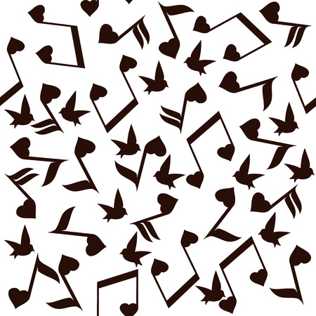 jazz modern: vector illustration of musical notes with hearts Illustration