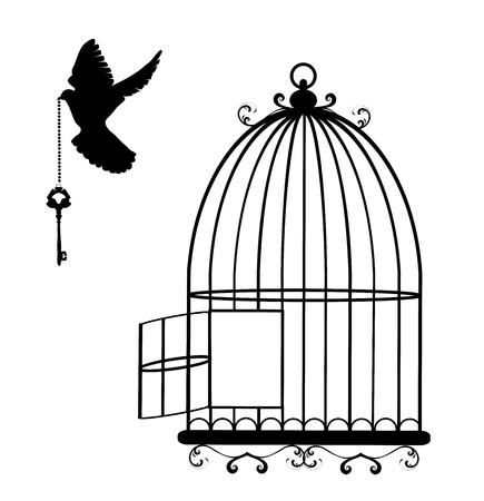 vector illustration of a flying dove with a key and cage open Stock Illustratie