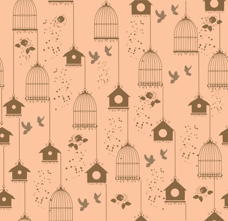 cages: vintage seamless background with cages and birds