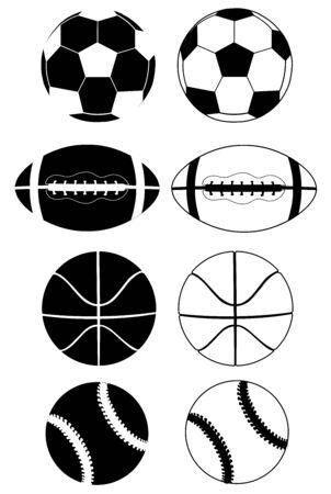 黒と白のスポーツ ボールのシルエットのイラスト