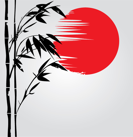 bambu: Ilustración de la planta de bambú fondo de la silueta oriental