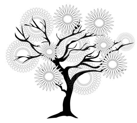 illustration of an abstract tree isolated on white background