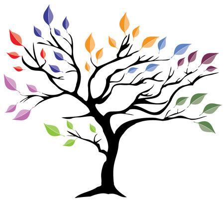 나뭇잎과 추상 나무의 그림 일러스트