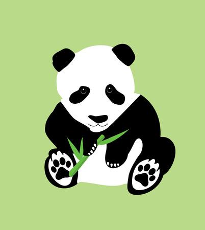 ejemplo de un oso panda con el bambú Ilustración de vector