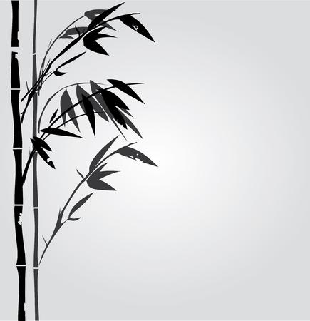 タケ植物シルエット東洋背景のイラスト