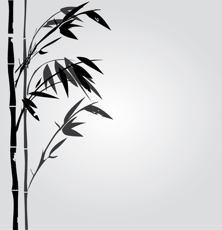 traditionally chinese: illustration of bamboo plant silhouette oriental background