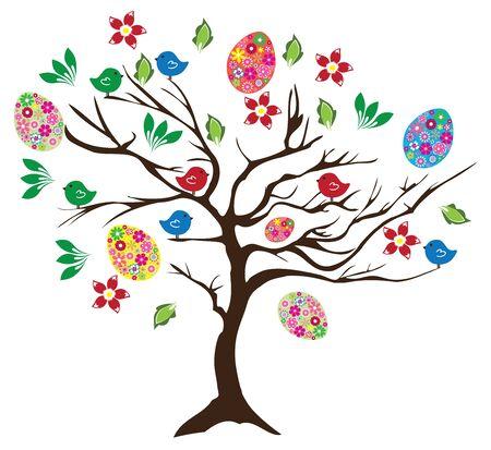 arbol de pascua: ilustración de un árbol de Pascua con huevos, aves y flores Vectores