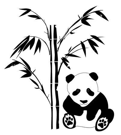illustration of a panda bear with bamboo