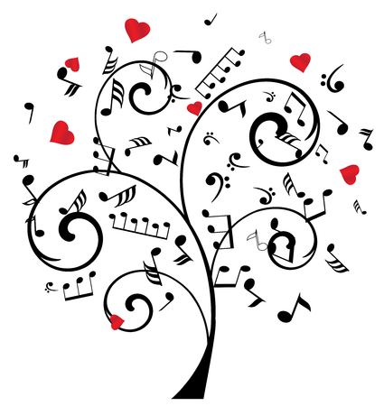 grunge music background: illustration of a tree with musical notes and hearts
