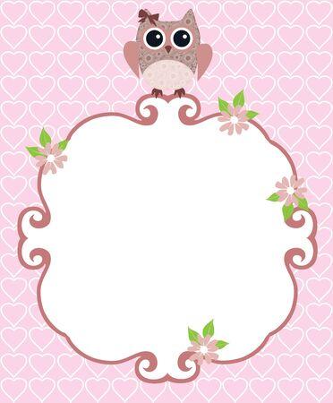 owl illustration: illustration of a baby shower or invitation card with owl Illustration