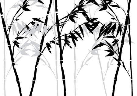 birds on branch: illustration of bamboo plant background Illustration