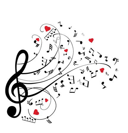 romantic: illustration of musical notes with hearts
