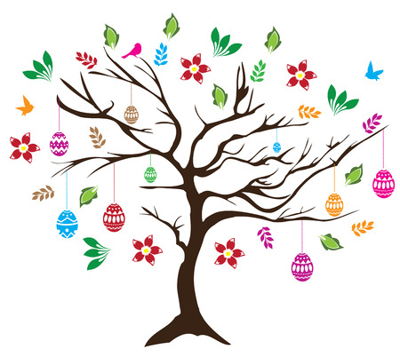 cute animal cartoon: illustration of Easter tree with birds and eggs Illustration